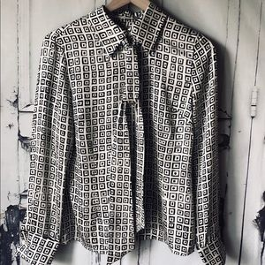 Liberte for Emanuel silk geometric print  blouse
